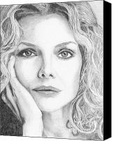 Michelle Drawings Canvas Prints - Michelle Pfeiffer Canvas Print by Alexandra Riley