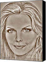 Famous Mixed Media Canvas Prints - Michelle Pfeiffer in 2010 Canvas Print by J McCombie
