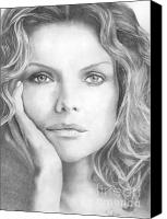 Michelle Drawings Canvas Prints - Michelle Pfeiffer Canvas Print by Karen  Townsend