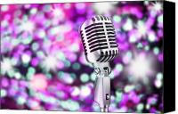 Perform Canvas Prints - Microphone Canvas Print by Setsiri Silapasuwanchai