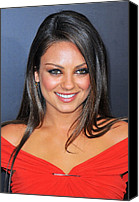 Lip Gloss Canvas Prints - Mila Kunis At Arrivals For Friends With Canvas Print by Everett