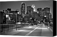 Bw Canvas Prints - Minneapolis Skyline from Stone Arch Bridge Canvas Print by Jon Holiday