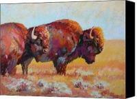 Bison Pastels Canvas Prints - Monarchs of the Great Plains Canvas Print by Christine  Camilleri