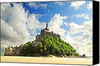 Fort Canvas Prints - Mont Saint Michel Canvas Print by Elena Elisseeva