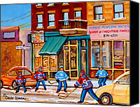 Hockey In Montreal Painting Canvas Prints - Montreal Paintings Canvas Print by Carole Spandau