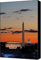 Pink Canvas Prints - Monuments at Sunrise Canvas Print by Metro DC Photography
