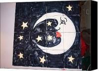 Handpainted Ceramics Canvas Prints - Moon and Stars Canvas Print by Nancy Barney