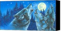 Wolf Canvas Prints - Moon Song Canvas Print by Richard De Wolfe