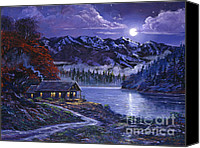 Moonlit Painting Canvas Prints - Moonlit Cabin Canvas Print by David Lloyd Glover