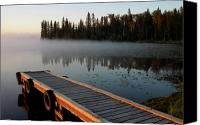 Saskatchewan Canvas Prints - Morning mist over Lynx Lake in Northern Saskatchewan Canvas Print by Mark Duffy