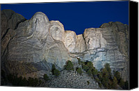 Mountain Sculpture Photo Canvas Prints - Mount Rushmore Nightfall Canvas Print by Steve Gadomski
