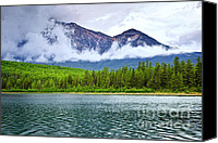 Alberta Landscape Canvas Prints - Mountain lake in Jasper National Park Canvas Print by Elena Elisseeva