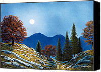Moonlit Painting Canvas Prints - Mountain Moonrise Canvas Print by Frank Wilson