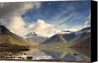Mountain Scenes Canvas Prints - Mountains And Lake At Lake District Canvas Print by John Short