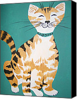 Tabby  Painting Canvas Prints - Mr. Tabby Canvas Print by Leslie Manley