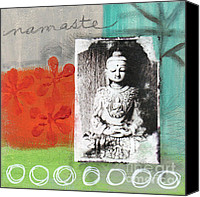 Spirituality Mixed Media Canvas Prints - Namaste Canvas Print by Linda Woods