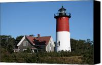 Nauset Beach Canvas Prints - Nauset Lighthouse Canvas Print by Gina Cormier