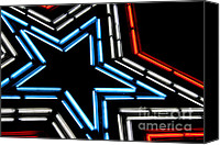 July Fourth Canvas Prints - Neon Star Canvas Print by Darren Fisher