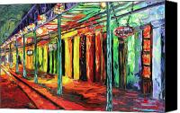 Beata Canvas Prints - New Orleans at Night Painting - All Jazzed Up Canvas Print by Beata Sasik