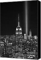 New York City Photo Canvas Prints - New York City Tribute in Lights Empire State Building Manhattan at Night NYC Canvas Print by Jon Holiday