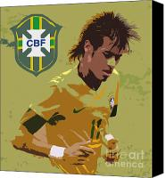 Team Canvas Prints - Neymar Art Deco Canvas Print by Lee Dos Santos