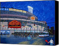 Baseball Art Canvas Prints - Night Game Canvas Print by J Loren Reedy