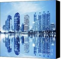 Featured Canvas Prints - Night Scenes Of City Canvas Print by Setsiri Silapasuwanchai