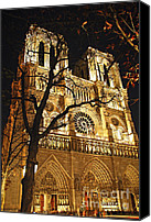 Dark Canvas Prints - Notre Dame de Paris Canvas Print by Elena Elisseeva