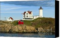 Nubble Light Canvas Prints - Nubble Light Canvas Print by John Greim