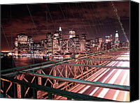 Urban Landscape Canvas Prints - NYC Night Lights Canvas Print by Nina Papiorek