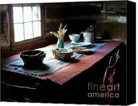Julie Dant Photos Canvas Prints - Old Cabin Table Canvas Print by Julie Dant