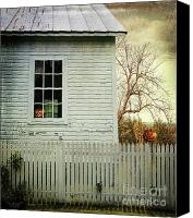Village Canvas Prints - Old farm  house window  Canvas Print by Sandra Cunningham