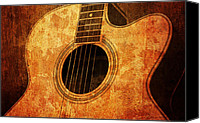 Song Mixed Media Canvas Prints - Old Guitar Canvas Print by Nattapon Wongwean