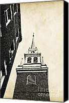 Postcard Photo Canvas Prints - Old North Church in Boston Canvas Print by Elena Elisseeva