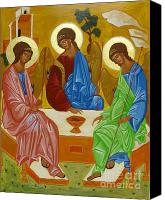 Byzantine Icon Canvas Prints - Old Testament Trinity Canvas Print by Joseph Malham