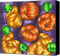 Fruits Drawings Canvas Prints - Oranges lemons and mangos Canvas Print by Hilda Tovar
