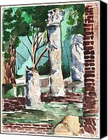 Ruins Drawings Canvas Prints - Ostia Antica Canvas Print by Mindy Newman
