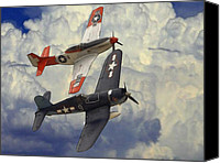 P51 Mustang Canvas Prints - Over the Clouds Canvas Print by Stefan Kuhn