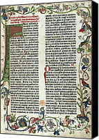Important Canvas Prints - Page Of The Gutenberg Bible, 1455 Canvas Print by Photo Researchers
