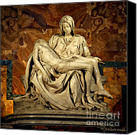 Vatican Painting Canvas Prints - Painting of Michelangelos Sculpture - Pieta Canvas Print by Rodger Underwood