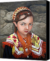 Ethnic Painting Canvas Prints - Pakistani Girl Canvas Print by Enzie Shahmiri