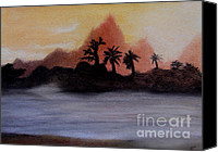 Palm Trees Pastels Canvas Prints - Palm Luxury Canvas Print by Angela Pari  Dominic Chumroo