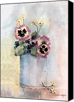 Stilllife Canvas Prints - Pansies In A Can Canvas Print by Arline Wagner
