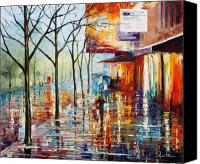 Architecture Painting Canvas Prints - Paris Canvas Print by Leonid Afremov