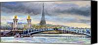Landscapes Pastels Canvas Prints - Paris Pont Alexandre III Canvas Print by Yuriy  Shevchuk