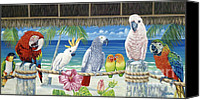 Parrots Canvas Prints - Parrots in Paradise Canvas Print by Danielle  Perry