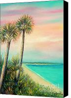 Beach Scenes Pastels Canvas Prints - Pass-A-Grille Beach Canvas Print by Gabriela Valencia