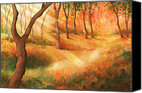Forest Floor Painting Canvas Prints - Path of Light Canvas Print by Greg Dolan