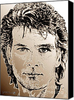 Famous Mixed Media Canvas Prints - Patrick Swayze in 1989 Canvas Print by J McCombie
