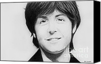 Black And White Digital Art Drawings Canvas Prints - Paul McCartney Canvas Print by Dan Lockaby